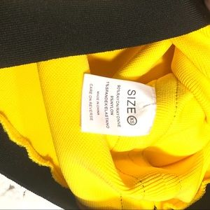 Dresses - Yellow black bandage dress women's XS long sleeve